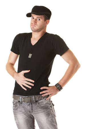 Handsome young Caucasian man holds his stomach over white background 스톡 콘텐츠