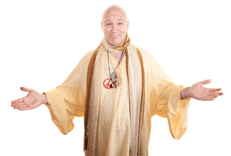 Smiling guru with open arms over white background photo