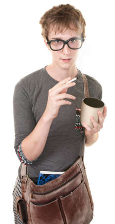 Youth with messenger bag, coffee and cigarette Stock Photo - 10553302