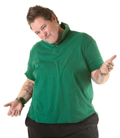 bracelet tattoo: Chubby Caucasian woman makes hand gestures over white background
