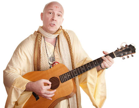 new age music: Bald Caucasian plays a guitar over white background