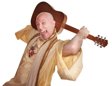 new age music: Crazy bald guru holds guitar over white background