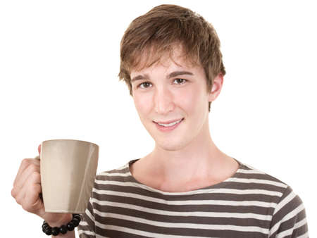 Smiling teen with mug over white background Stock Photo - 10553347