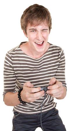 Caucasian teen holding joystick winks over white background