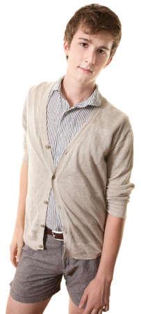 тощий: Непринужденная Молодой человек стоит на белом фоне