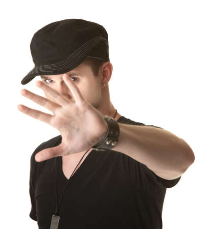 five fingers: Young man tries to cover his face over white background