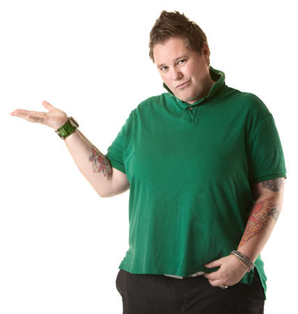 bracelet tattoo: Chubby Caucasian lady makes hand gestures over white background