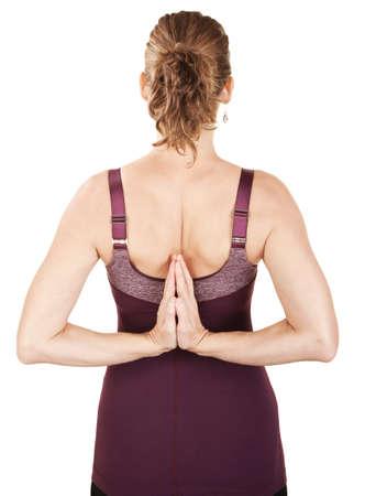 Caucasian woman in backward namaskar or salutation pose photo