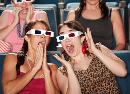 Two amazed Caucasian women with 3D glasses photo