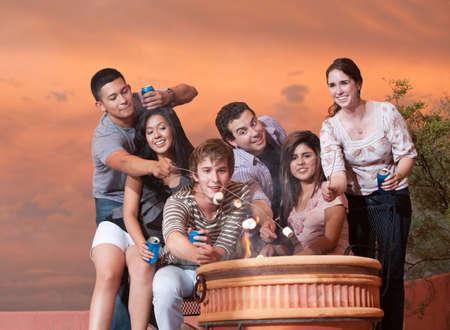 socializando: Grupo de seis amigos asar malvaviscos en olla caliente