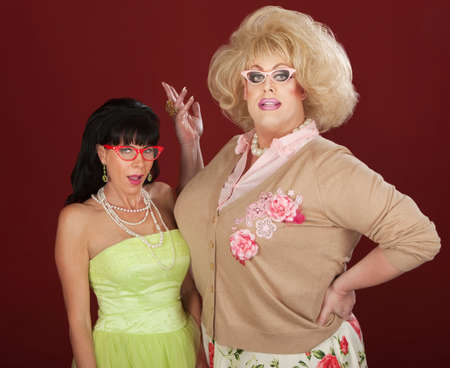 Exceited woman with drag queen wearing thick eyeglasses Banco de Imagens