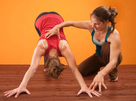 fitness instructor: Yoga teacher helps student perform Adho Mukha Svanasana yoga posture