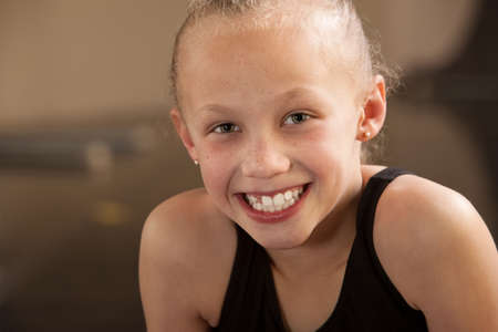 Close up of a happy biracial child dancer Stock Photo - 13649406