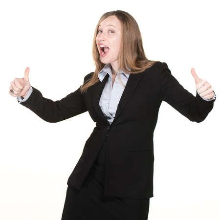 ビジネスの女性と親指アップ幸せそうな顔