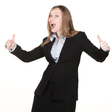 Business woman with thumbs up and happy face photo