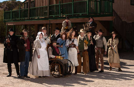 Townspeople posing outside in an American old west scene Stock Photo - 13791276