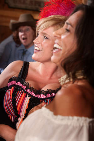 saloon: Three happy women laughing in a saloon Stock Photo