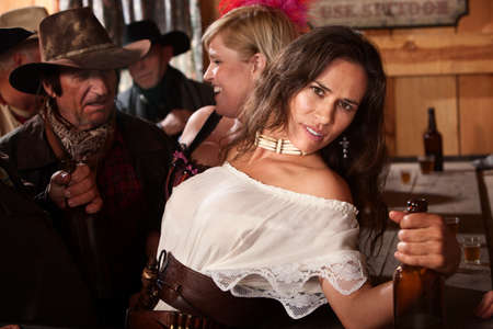 holster: Pretty Native American woman leaning back at a bar
