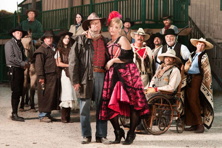 prostitute: Tough old west gangster with prostitute and group of people