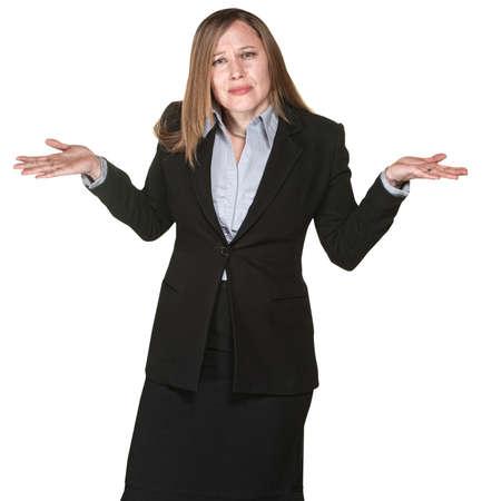 persona confundida: Mujer de negocios Confundido con las manos en el aire
