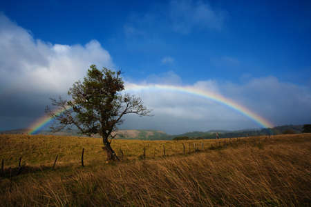 Wide rainbow reaches across a vast praire photo