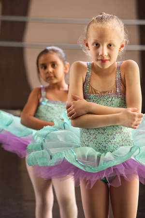 ballerina tights: Two cold little children in ballet dresses