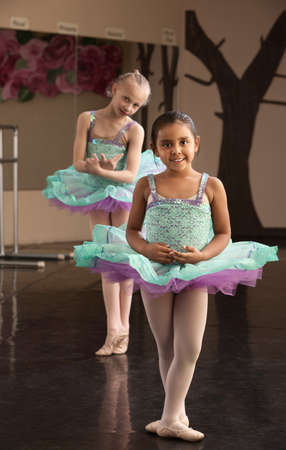 Two young ballet dresses rehearsing in a dance studio photo
