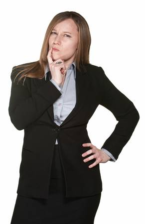 cynical: Cynical professional female isolated over white background