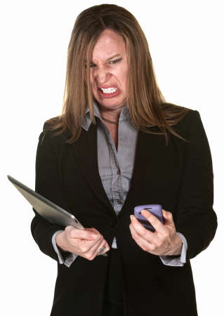 technophobe: Angry businesswoman with tablet and phone over white background