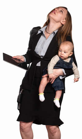Stressed out professional woman with baby over white background photo