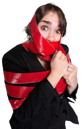 conept: Scared businesswoman wrapped in red tape over white background