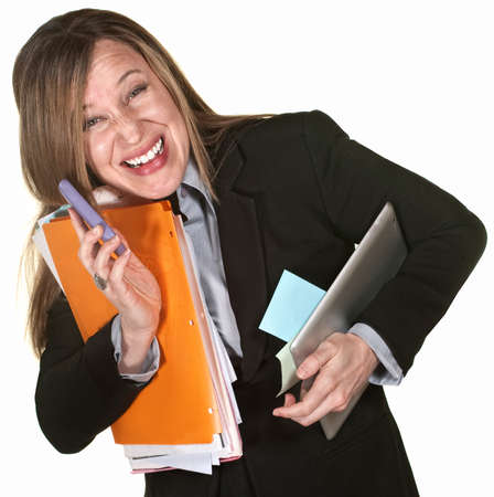 capable: Working lady with phone and folders multitasking