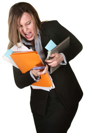 administrative: Professional woman fumbling with papers, computer and phone