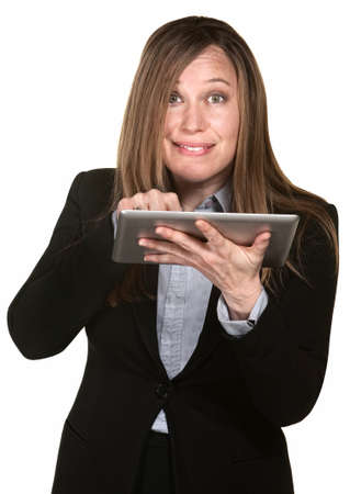 Busy woman works on tablet over white background photo