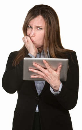 technophobe: Scared lady holding tablet over white background