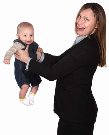 Anxious businesswoman not sure what to do with baby Stock Photo - 14295663
