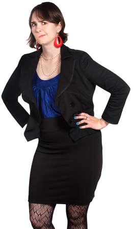desprecio: Persona escéptica empresarial femenino con las manos en las caderas