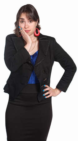 bashful: Cute professional woman with hand on face