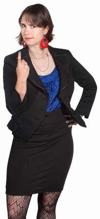 dagvaarding: Tough jonge zakenvrouw dagvaarding met wijsvinger Stockfoto