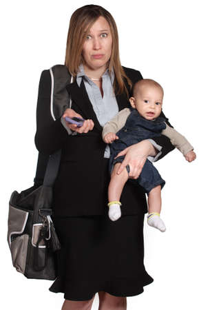 Confused business lady with phone and baby over white