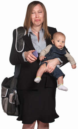 Crying professional lady with phone and baby in arms