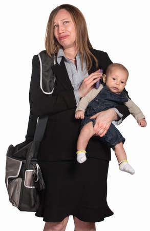 Weeping female executive with baby over white background photo
