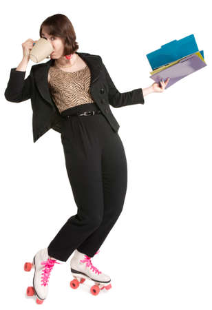 roller skates: Happy office worker with pink roller skates
