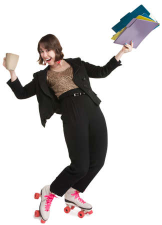 Office worker with pink roller skates and coffee mug Stok Fotoğraf