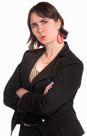 nasty: Pouting professional woman isolated over white background