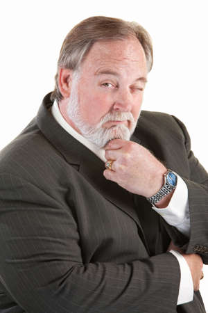 easygoing: Easygoing mature man with beard over white background
