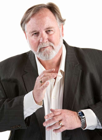 Friendly caucasian man gestures with his hands over white background photo