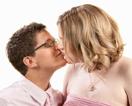 Kissing female couple close up over white photo