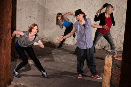 Cool urban dancers posing in underground setting Stock Photo - 14484198