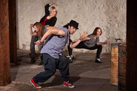 Young Arab hip hop dancer posing with crew Stock Photo - 14484196